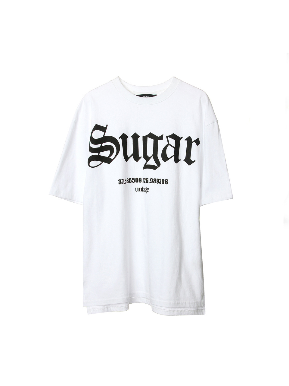 white sugar over-fit t-shirts