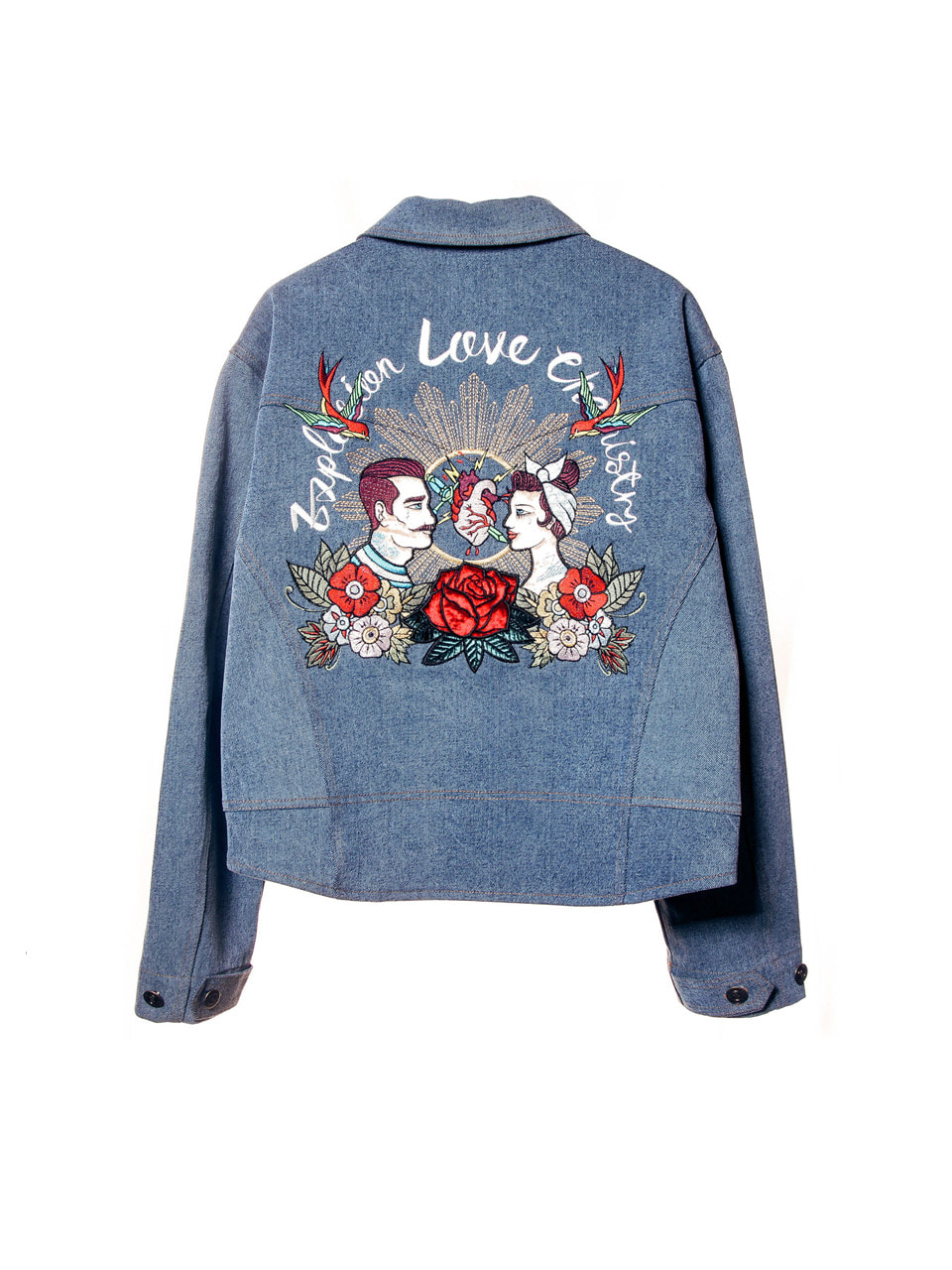 embroidery over-fit denim jacket