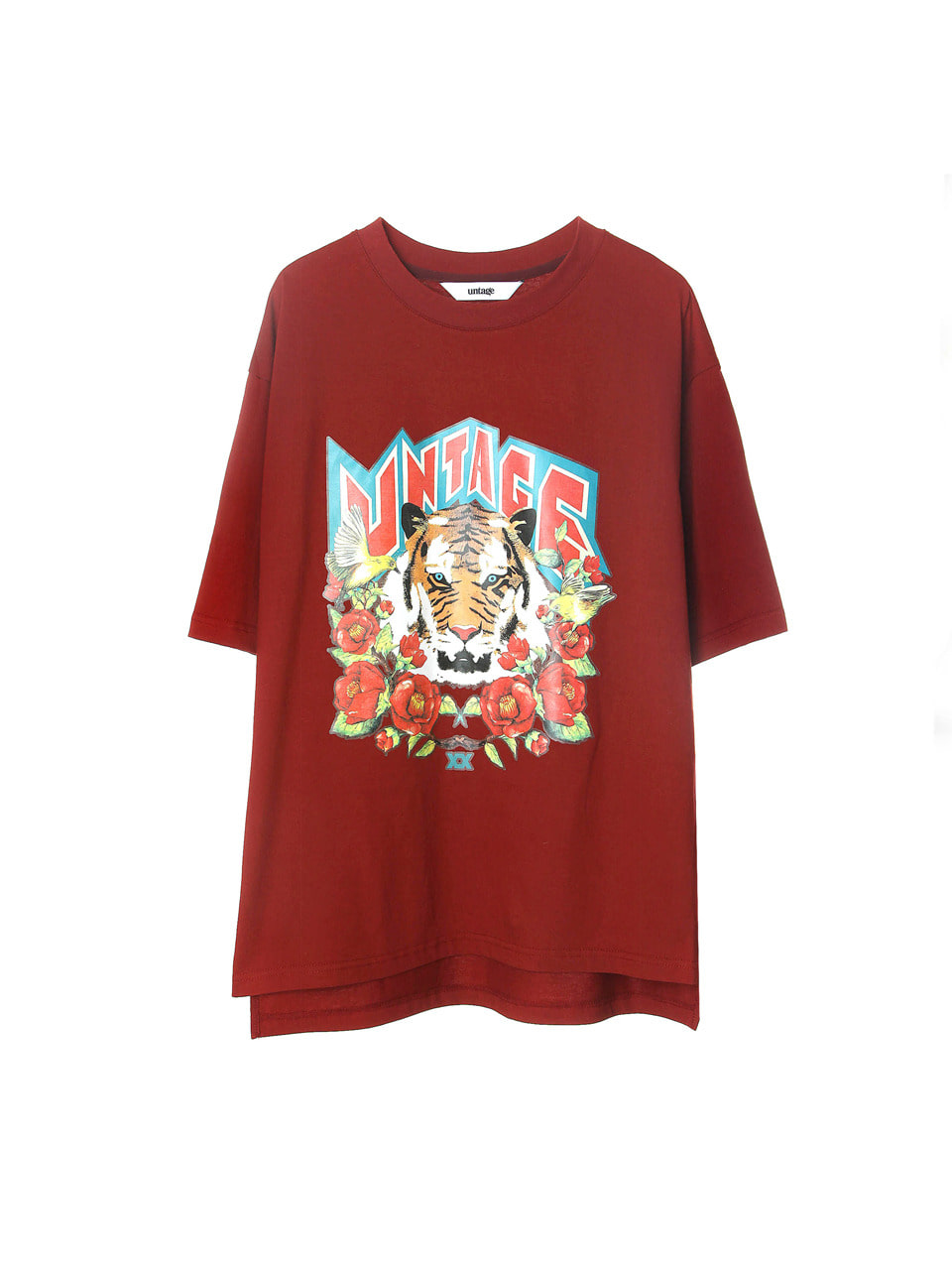 burgundy tiger over-fit t-shirts