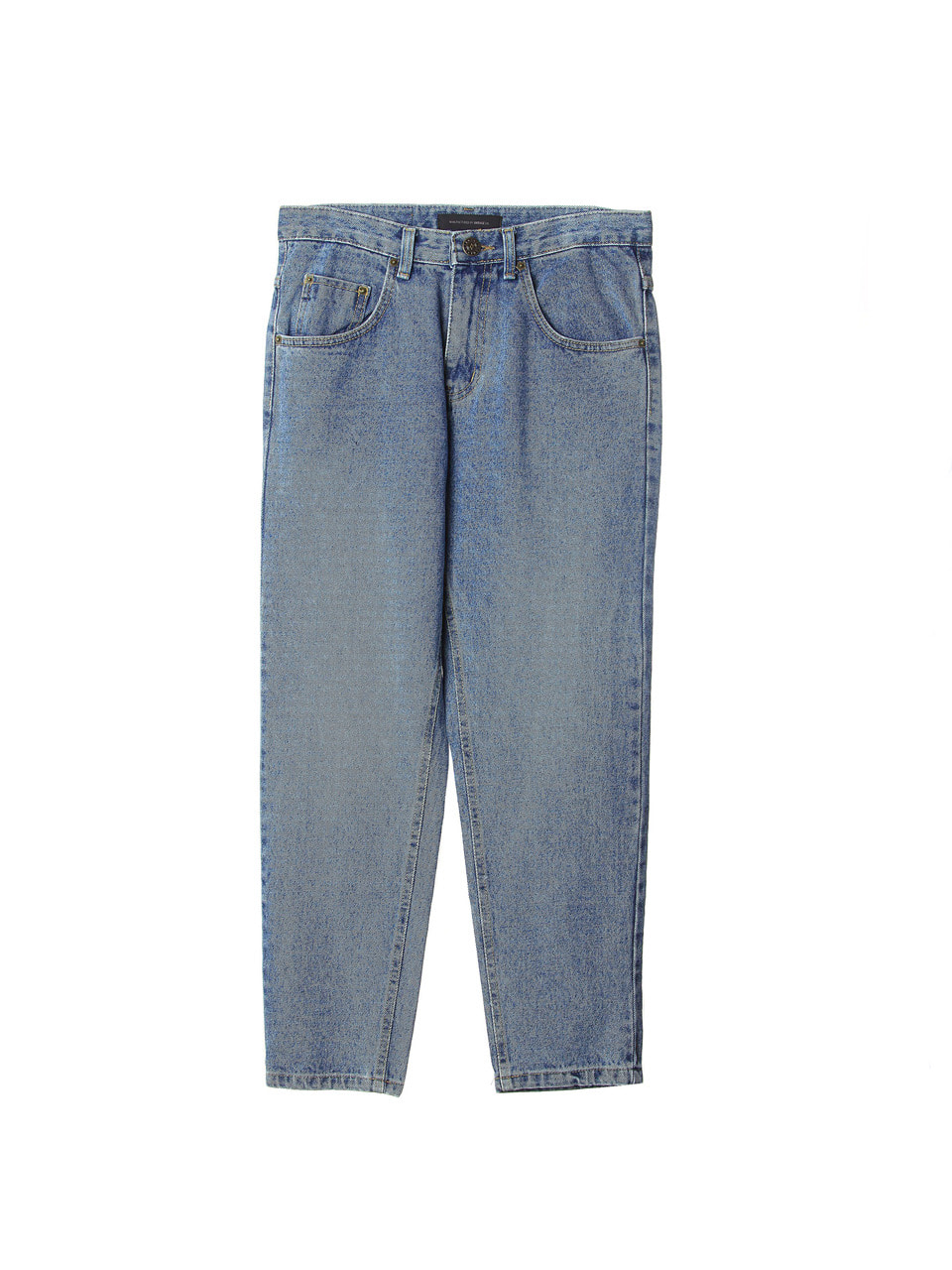 blue tapered denim pants