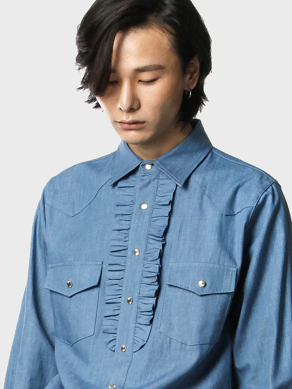 western frill denim shirts