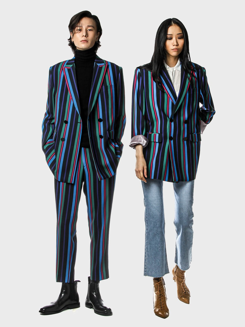 deep stripe double blazer