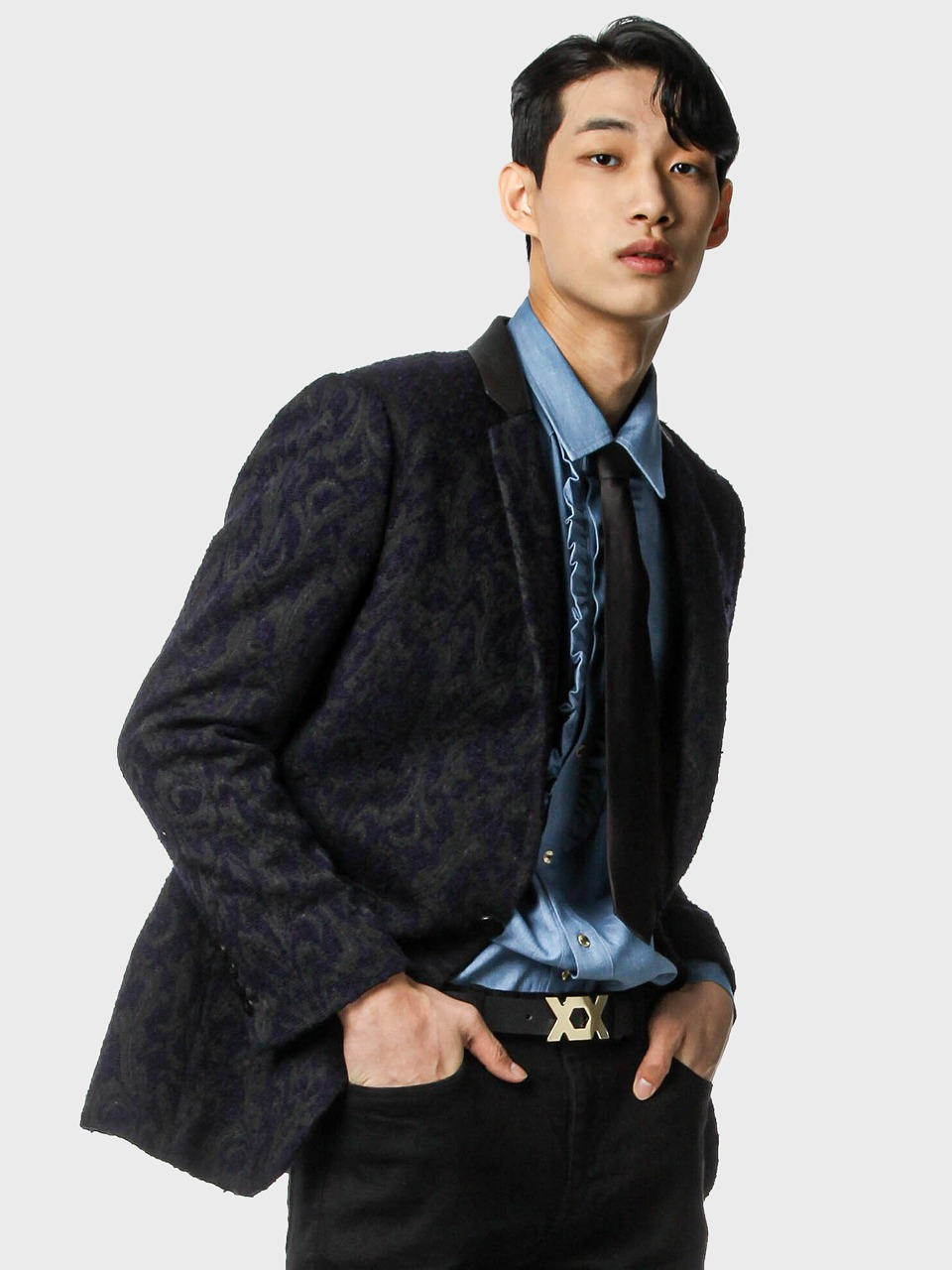 deep purple jacquard cocktail jacket