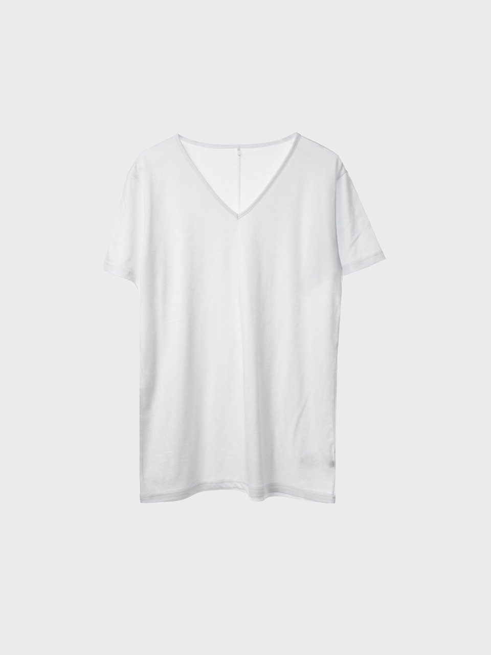 Tencel V Neck T-Shirts (white) for woman