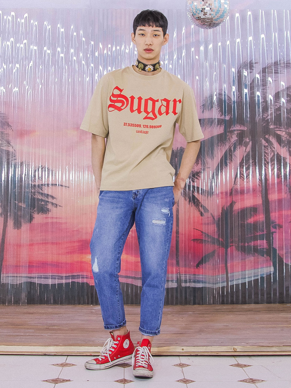beige sugar over-fit t-shirts