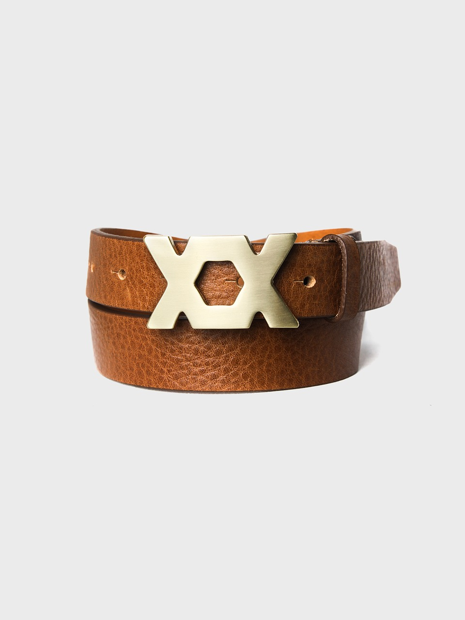 gold square leather belt
